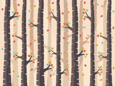 Fototapeta Jesień brzozy lasu tła z opadające.
