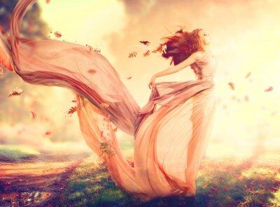 Fototapeta Jesień fantazji dziewczyna, bajki dmuchanie w sukni z szyfonu