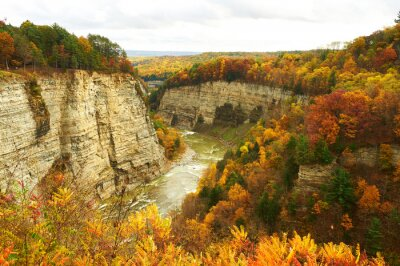 Fototapeta Jesień sceny z wodospadami i wąwóz