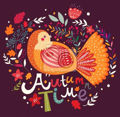 Fototapeta Jesień tło z ptakiem