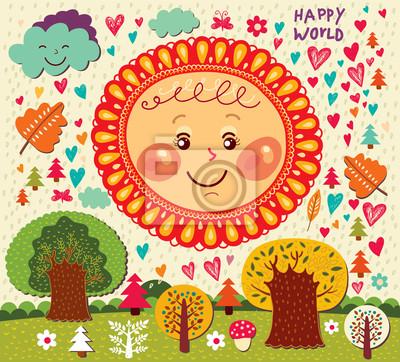 Jesień wektorowa Cartoon ilustracji z zabawy słońca i drzew