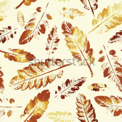 Fototapeta jesień wzór. piękny odcisk akwarela wzór liści. ręcznie malowane. piękny odcisk tło bez szwu tekstury.