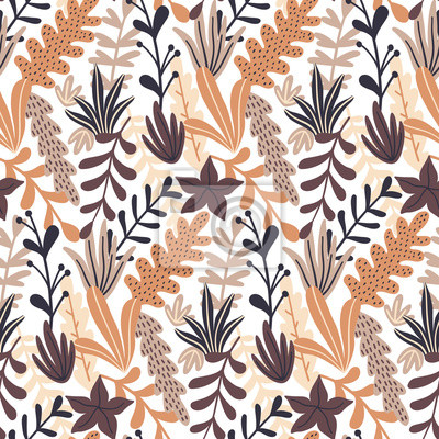 Jesień wzór z dzikich kwiatów elementów. Nowoczesne ręcznie rysowane stylu. Tapeta wektor.