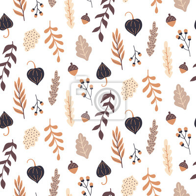 Fototapeta Jesień wzór z dzikich kwiatów elementów. Ręcznie rysowane liście, kwiaty, zioła, żołędzie. Tapeta wektor.