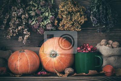 Jesienią żniwa wciąż życia: dynie, żurawina, orzechy włoskie i wiszące kiście ziół leczniczych. Retro stonowanych.