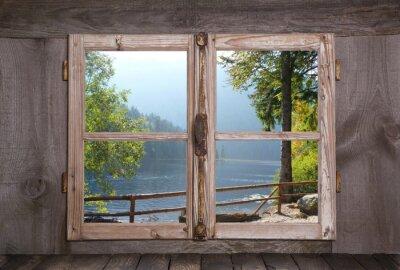 Fototapeta Jesienny krajobraz - drzew nad jeziorem - okna drewniane