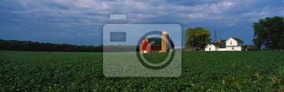 Fototapeta Jest to gospodarstwo z silosu i stodoła. Bezpośrednio za nim siedzi biały dom. To siedzi w środku polu gospodarstwa zielonych.