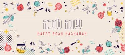 Fototapeta jewish new year, rosh hashanah, greeting card banner with traditional icons. Happy New Year, shana tova in hebrew. Apple, honey, flowers and leaves, Jewish New Year symbols and icons. Vector illustrat
