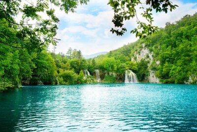 Fototapeta jezioro w głębokim lesie górskiej