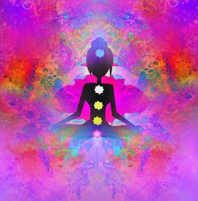 Fototapeta Joga lotosu. Padmasana z kolorowymi punktami czakry.