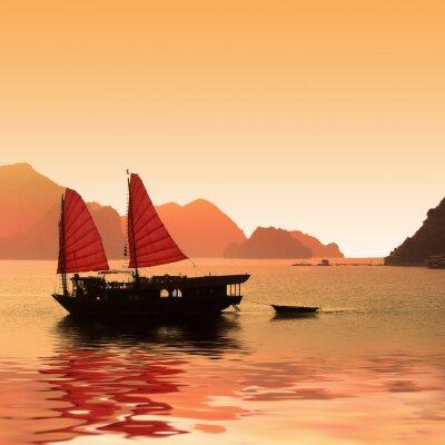 Fototapeta Jonque dans la Baie d'Halong - Wietnam