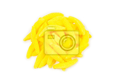 Fototapeta Juicy colorful jelly banana sweets isolated on white. Gummy candies.