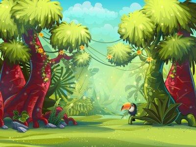 Fototapeta Jungle ilustracji wektorowych tukan, drzew i kwiatów