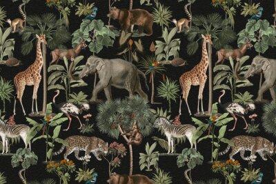 Fototapeta Jungle pattern background wild animals