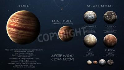 Fototapeta Jupiter - Wysoka rozdzielczość infografiki o planecie Układu Słonecznego i jego księżyców. Wszystkie planety dostępne.