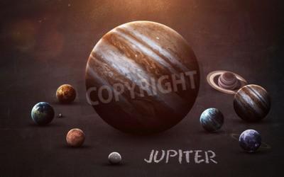 Fototapeta Jupiter - zdjęcia wysokiej rozdzielczości prezentuje planety Układu Słonecznego na tablicy szkolnej. Ten obraz elementy dostarczone przez NASA
