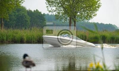 Kaczka patrząc na łodzi motorowej w kanale