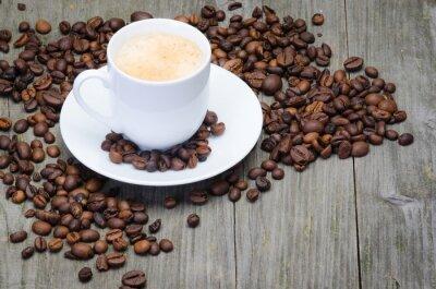Fototapeta kaffeetasse auf Holzbrett