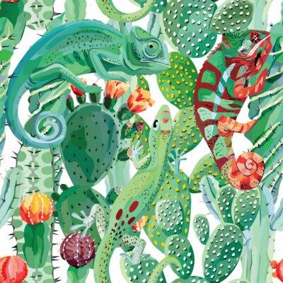 Fototapeta Kameleon i kaktus bezszwowe tło