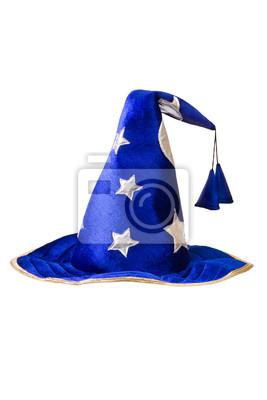 Kapelusz czarownicy niebieski ze srebrnym gwiazdkowych