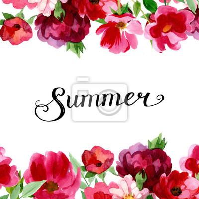 Karta Lato w akwareli na zaproszenie ślubu. Może być używany do: romantyczna dekoracja, tło karty zaproszenie na urodziny, pocztówki lub rocznika ramce.