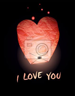 Karta miłości. Niebo latarnia na nocnym niebie. Eps 10