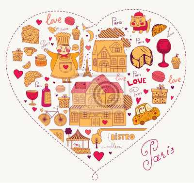 Fototapeta Karta wektor z symboli francuskiej i Paryża