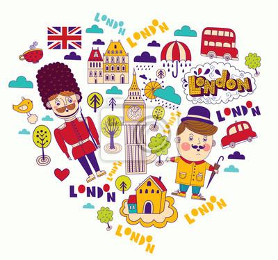 Fototapeta Karta wektor z symboli Londynu