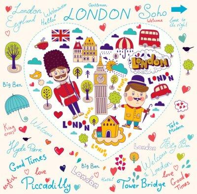 Fototapeta Karta wektor z symboli Londynu i zabytków