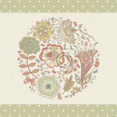 Karta z abstrakcyjne kwiaty