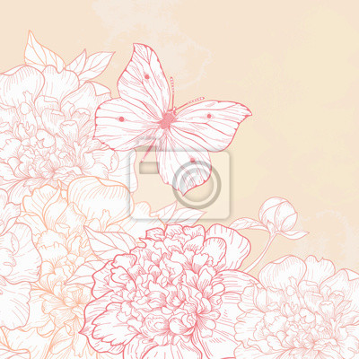 Karta z piwonii i motyl