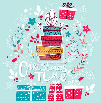 Fototapeta Kartka świąteczna z prezentami