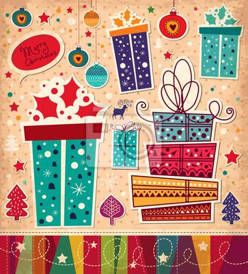 Fototapeta Kartka świąteczna z pudełka na prezenty