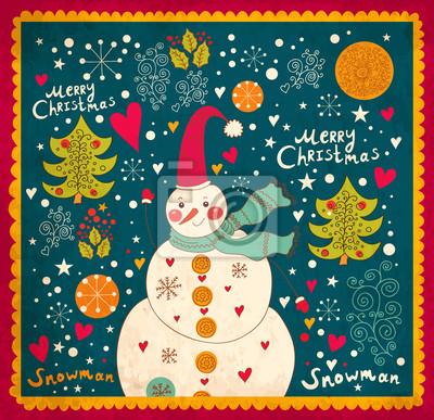 Fototapeta Kartka świąteczna z Snowman