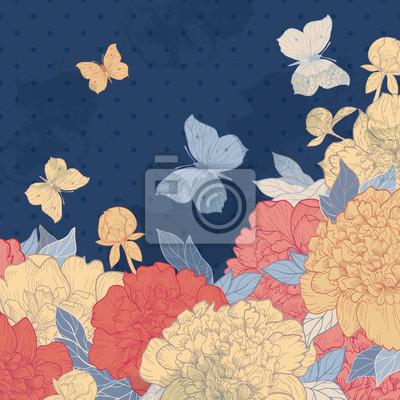 Karty z kwiatów, ziół i motyli