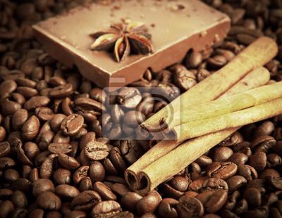 kawa, cynamon i czekolada