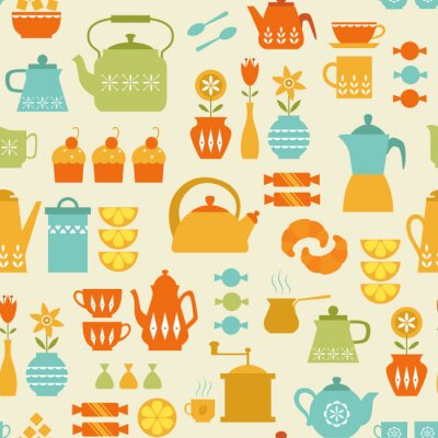 Fototapeta Kawa i herbata, wzór