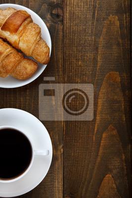 kawa i rogaliki z miejsca kopiowania
