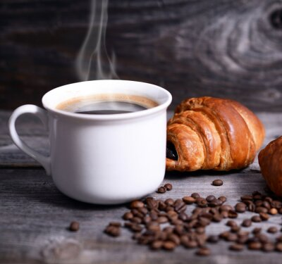 Fototapeta Kawa i świeże rogaliki