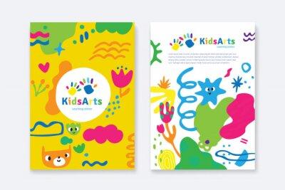Fototapeta Kids Arts logo and stationery vector. Cute kids multi colored cover design for advertising brochure, Children pattern, kids menu, kindergarten poster, social media post, website background.