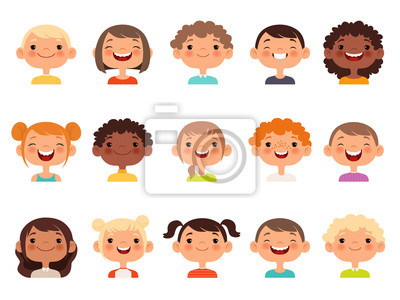 Fototapeta Kids faces. Child expression faces little boys and girls cartoon avatars vector collection. Girl and boy avatar, young teenager female and male illustration