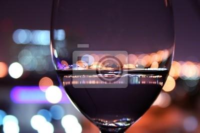 Fototapeta Kieliszek wina w romantycznej ustawienia