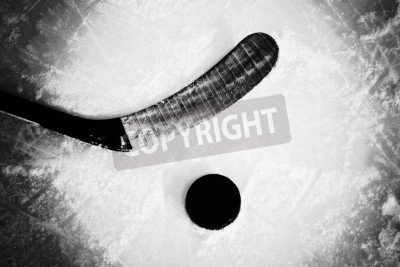 Fototapeta kij hokejowy i krążek