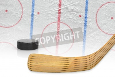 Fototapeta Kij, krążek i hokeja na trawie. Praca, hokej