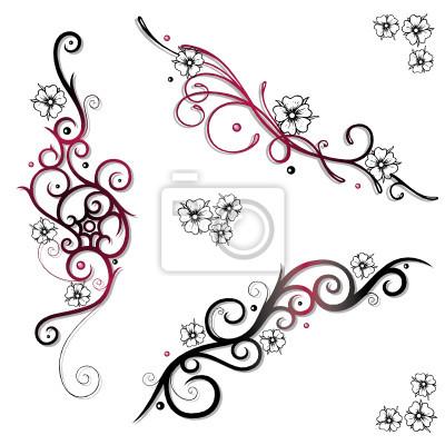 fototapeta kirschbl ten kwiat wi ni ranken tatua e set na wymiar czerwony czarny sztuka. Black Bedroom Furniture Sets. Home Design Ideas