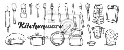 Fototapeta Kitchenware Utensils Collection Ink Set Vector. Spoons And Forks, Chef Hat And Scapula, Rolling Pin And Teapot Kitchenware. Engraving Template Hand Drawn In Vintage Style Black And White Illustrations
