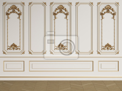 Fototapeta Klasyczna ściana wewnętrzna z listwami