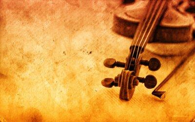 Fototapeta Klasyczne skrzypce na tle grunge papieru