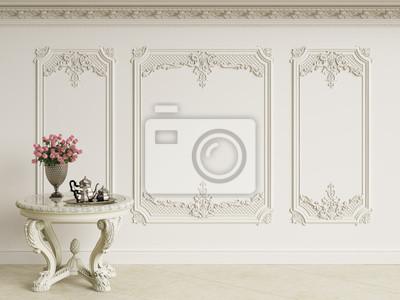 Fototapeta Klasyczny barokowy stół z zestawem do kawy i bukietem róż w klasycznym wnętrzu. Ściany z listew i zdobione gzymsu.Marble podłogowe.Digital illustration.3d renderowania