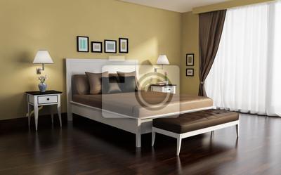 Fototapeta Klasyczny, biały i złoty, luksusowa sypialnia, z podłogą z drewna na wymiar • złoto ...